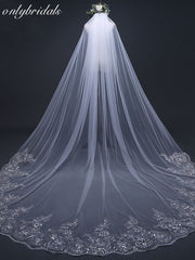 onlybridals 3 Meter White Ivory Cathedral Wedding Veils Long Lace Edge Bridal Veil with Comb