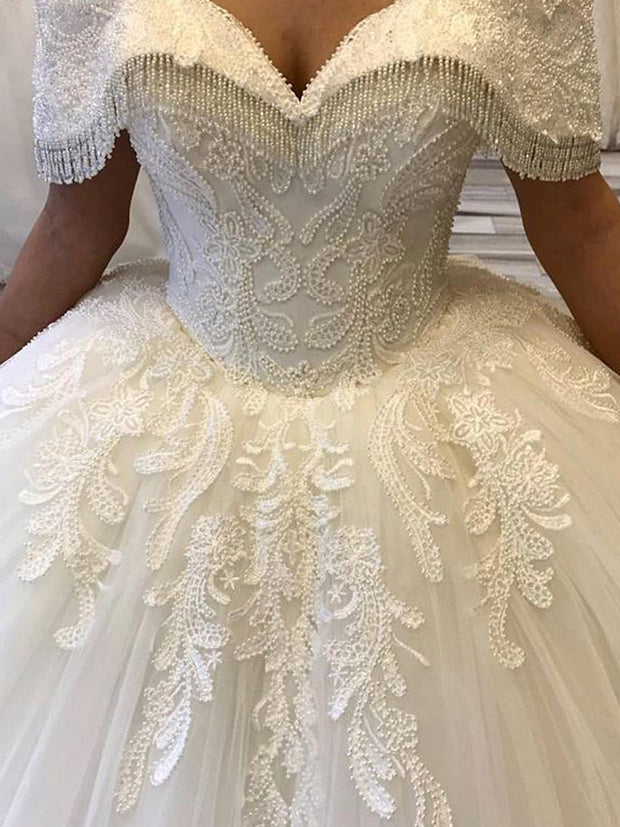 onlybridals Long sleeved Wedding Dresses Applique Lace Ball Gown Bride Dress Luxury Beaded Lace Wedding Dress - onlybridals