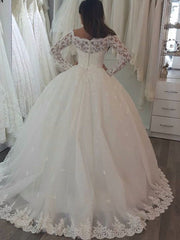 onlybridals Elegant Long Sleeve Lace Ball Gown Tulle Floor Length Bride Wedding Dresses Vestidos - onlybridals