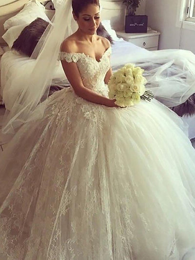 Ball Gown Sleeveless Off-the-Shoulder Lace Court Train Wedding Dresses - onlybridals