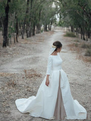 onlybridals White and Champagne Wedding Dresses A Line Bateau Neck Backless Country Bridal Gowns with Sleeves Chapel Train Custom Made - onlybridals
