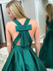 onlybridals Simple Prom Dresses V-neck Bowknot Cheap Prom Dress Long Evening Dress - onlybridals