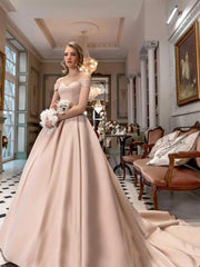 Luxury Shine Starry Sky Ball Gown Wedding Dress Sexy Deep Ruffle - onlybridals