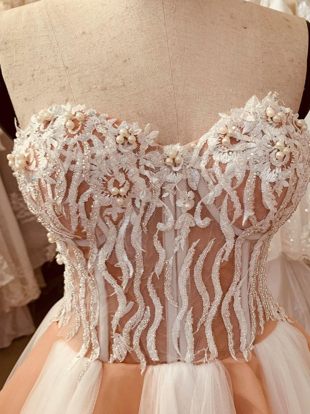 onlybridals Gorgeous unique wedding dress sweetheart neckline - white and light orange chiffon panels floral patterns - onlybridals
