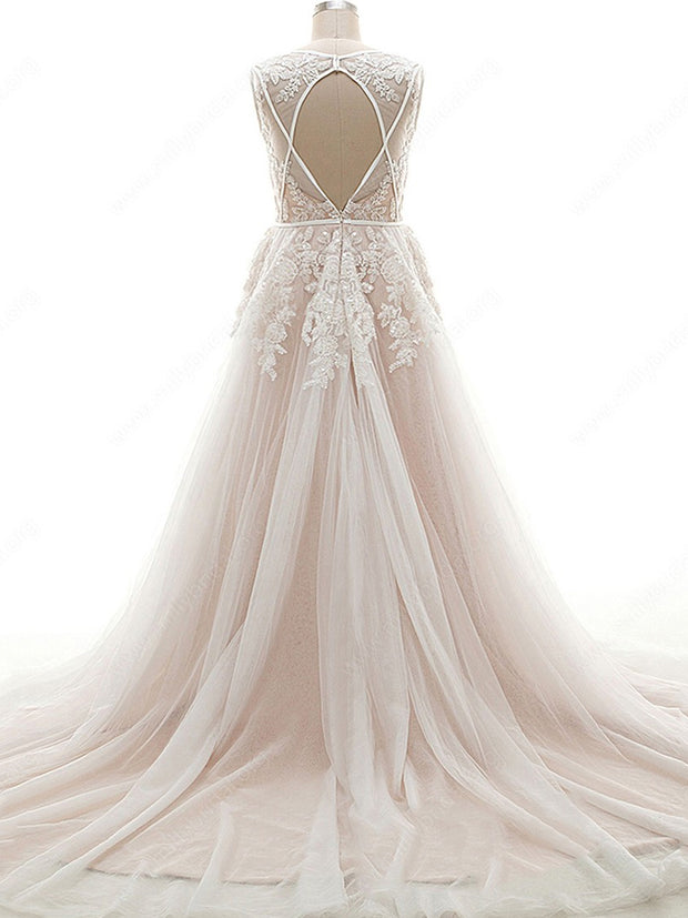 onlybridals Custom A-line V-neck Tulle Court Train Appliques Lace Open Back Wedding Dresses