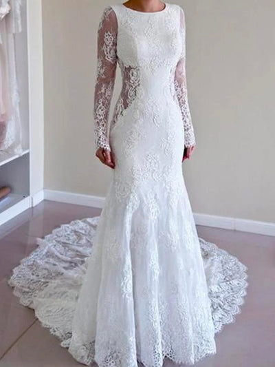 onlybridals White Lace Mermaid Long Sleeve Backless Wedding Dresses with Sweep Train