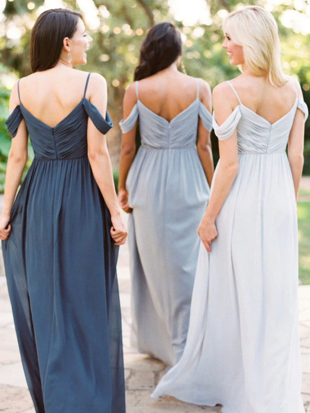 V-neckline Sage Long Bridesmaid Gown Chiffon Skirt