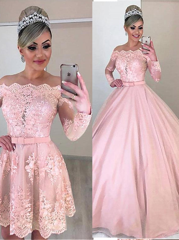 Only bridals Tulle Off-the-shoulder Neckline 2 In 1 Wedding Dresses Long Sleeves & Bowknot & Detachable Skirt Pink Bridal Dress - onlybridals