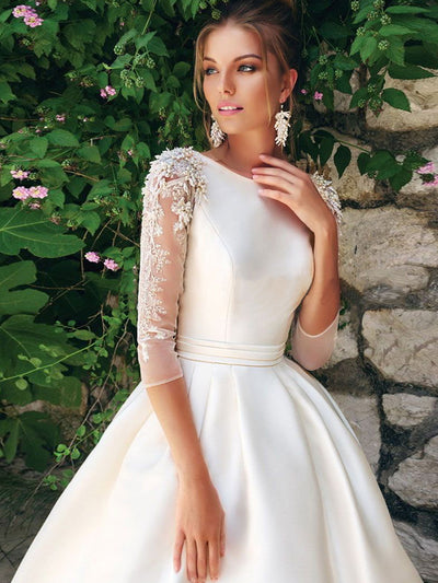 onlybridals O-neck 3/4 Sleeves Beading Applique Satin A-line Wedding Dress Train Lace-up High Quality Bridal Dress - onlybridals