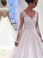 Fabulous White A Line Satin Long Sleeves Wedding Dresses with Appliques