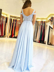 A-Line/Princess Sleeveless Off-the-Shoulder Floor-Length Applique Chiffon Dresses - onlybridals