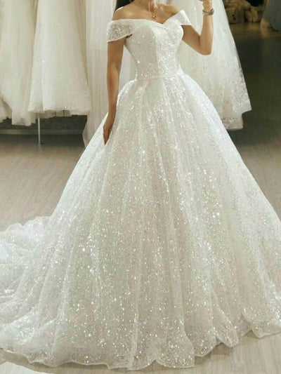 onlybridals Boho White Wedding Dresses Long 2020 Bling Bling Sequin Sweep Train Bride Gowns Princess