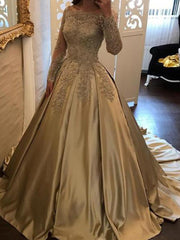 Ball Gown Long Sleeves Off-the-Shoulder Sweep/Brush Train Applique Satin Dresses - onlybridals