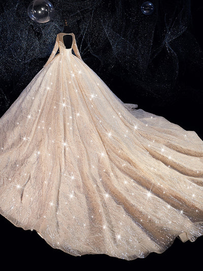 ball gown wedding dress 2019 sparkling shinny bridal dress - onlybridals