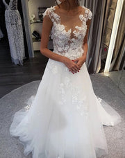 Only bridals Cap Sleeve Long A-Line Wedding Dress, Applique Elegant Tulle Wedding Dress