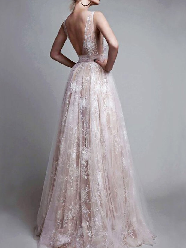 A-Line/Princess V-neck Floor-Length Tulle Sleeveless Applique Dresses - onlybridals