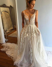 onlybridals Sexy Tulle Spaghetti Straps Neckline Chapel Train A-line Wedding Dresses - onlybridals