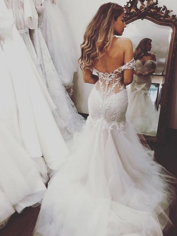 Charming Mermaid Off Shoulder Tulle Long Wedding Dresses With Applique