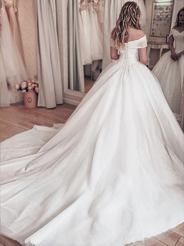 onlybridals Sparkling Tulle Off-the-shoulder Neckline Ball Gown Wedding Dresses With Rhinestones