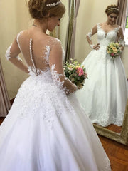 onlybridals vestido de noiva Illusion Ball Gown Wedding Dresses 2019 Long Sleeve Wedding Dress Lace