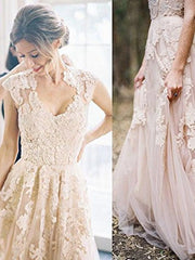 Elegant V Neck Sleeveless Lace Appliques Wedding Dresses Long Bridal Dresses