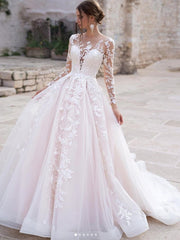 onlybridals Hot Sale Elegant A-Line Wedding Dresses Lace Sweetheart Long Illusion Sleeves Sweep Train Wedding Dress Bridal Gowns - onlybridals