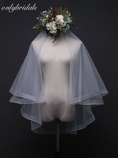 onlybridals Wedding Veil With Combs With Comb Sexy Yarn Dyed Two-layer 2019 Real Photos Ribbon White Ivory - onlybridals