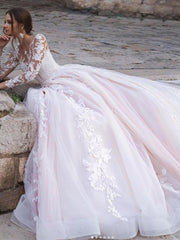 onlybridals Hot Sale Elegant A-Line Wedding Dresses Lace Sweetheart Long Illusion Sleeves Sweep Train Wedding Dress Bridal Gowns