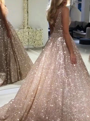 Luxurious Sequin V-neck Ball Gowns Prom Dresses 2019
