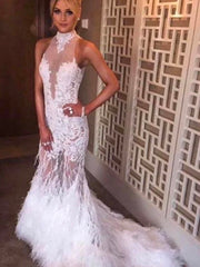 onlybridals White Halter Mermaid Lace Sweep Train Prom Dresses With Feather - onlybridals