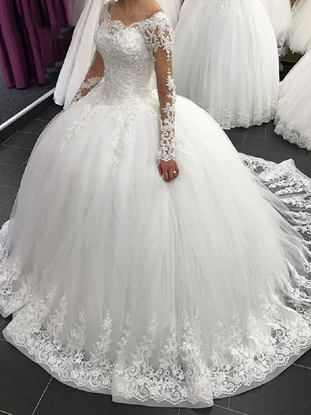 Only bridals  Luxury Ball Gown Wedding Dress Women Bridal Dresses Custom Made White Lace Wedding Gowns