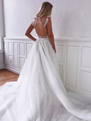 onlybridals Charming A Line V Neck White Wedding Dresses Appliques Open Back dress