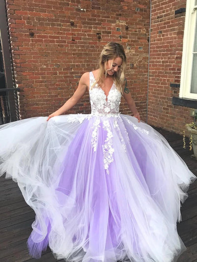 onlybridals V Neck Open Back White Lace Appliques Top Purple Tulle lace  Long Prom Dresses