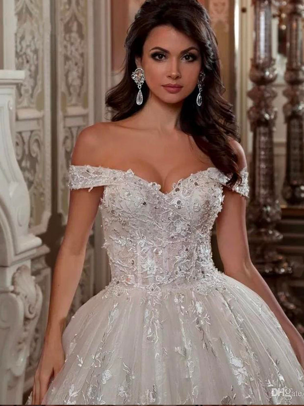 onlybridals Vintage Off The Shoulder Short Sleeve Wedding Dresses Beading Ball Gown  Plus Size 2020 Bridal Gowns - onlybridals