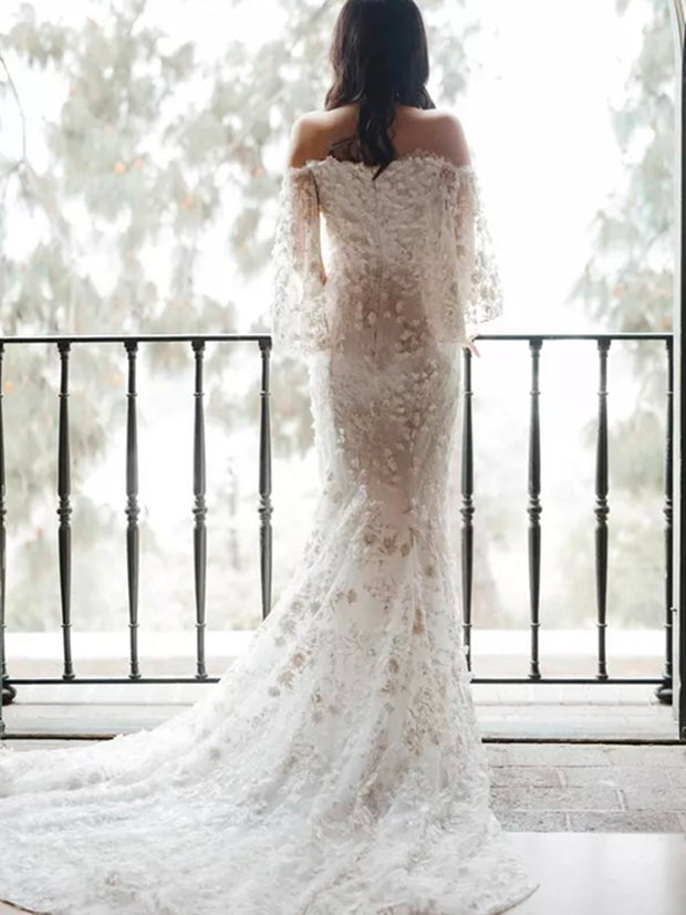 onlybridals 2020 Summer Beach Boho Lace Dress Appliqued Sexy Half Sleeves Sheath Bridal Wedding Gowns