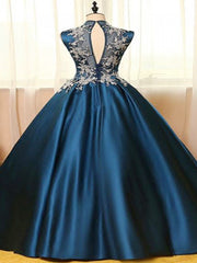 onlybridals Navy Prom Dress, High Neck Prom Dress, Prom Dress Long, Sleeveless Prom Dress - onlybridals