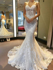 onlybridals  Mermaid Backless White Lace Wedding Dresses Long Prom Dresses, Mermaid White Lace Formal Dresses, Backless Lace White Evening