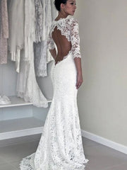 onlybridals White Lace Open Back Long Sleeve Mermaid Long Wedding Dresses