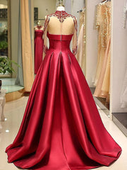 onlybridals Long Sleeve Prom Dresses High Neck Burgundy Long Prom Dress Satin Evening Dress - onlybridals