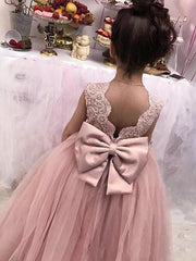 onlybridals Lovely Flower Girl Dresses  O-Neck Ball Gown Big Bow Appliques Long Little Pageant Gowns Girls First Communion Gowns Cheap
