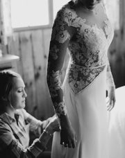 Only bridals Charming Long Sleeve Lace Open-Back Wedding Dress with Detachable Chiffon Skirt - onlybridals