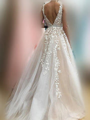 onlybridals V Neck Wedding Dresses Light Champagne Floor Length Applique Open Back Sleeveless A Line Backless Bridal Dress Vestido De Noiva - onlybridals