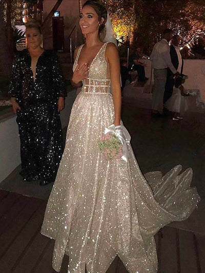 onlybridals A Line Wedding Dresses Sparkly White Sequined Backless Boho Glitter Wedding Bride Gowns