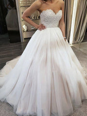White Lace Appliques Ball Gown Wedding Dresses 2019 Sweetheart Beaded Princess