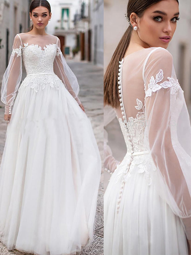 Beach Wedding Dresses 2019 Lace Appliques Puff Long Sleeves Bridal Wedding Gowns Backless Floor Length - onlybridals