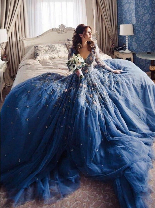 onlybridals Blue Wedding Dresses Bridal Ball Gowns Custom V Neck Long Sleeve Top Lace Boho - onlybridals