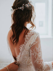 Beige Hippie Wedding Dress With Lace Bodice and Tulle Skirt/Open Back Boho Wedding Gown With Sleeves