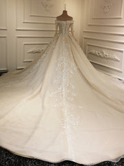onlybridals Lace Corset Long Sleeve Wedding Tulle Cathedral Train dress - onlybridals