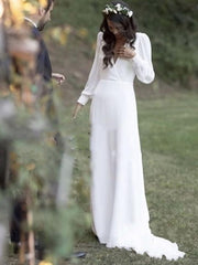 onlybridals Bohemian White Wedding Dresses V Neck Backless Sweep Train Chiffon - onlybridals