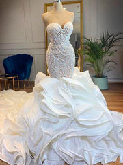 onlybridals Chapel Train Mermaid Wedding Dresses Sweetheart Beads Crystals Ruffles Tiered Bridal Gowns - onlybridals